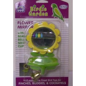 Vo-Toys Flower Mirror with Beads Cup and Perch Bird Toy