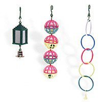 Lattice Balls, Mirrored Lantern with Bell, Budgie Rings bird toys